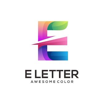 Litera e geometryczne kolorowe logo gradientowe streszczenie