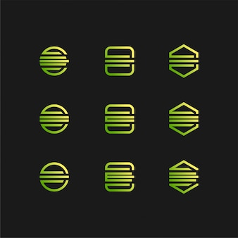 Litera e logo ustawione w kolorze gradientu