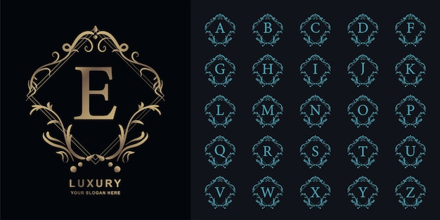 Litera e lub początkowy alfabet kolekcji z luksusowym ornamentem kwiatowy rama złoty szablon logo.