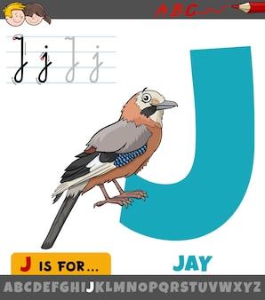 Litera e z alfabetu z kreskówkową sójką ptakiem