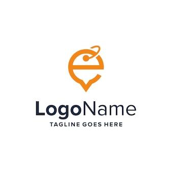Litera e z ceną tagu i bańką czatu prosty elegancki kreatywny geometryczny nowoczesny projekt logo