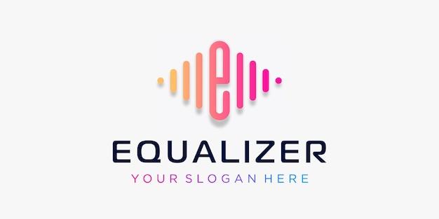Litera e z elementem odtwarzacza muzyki pulse szablon logo korektor muzyki elektronicznej muzyka dj