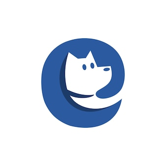 Litera e z głową psa w środku dobra dla każdego logo firmy związanej z psem lub zwierzakiem