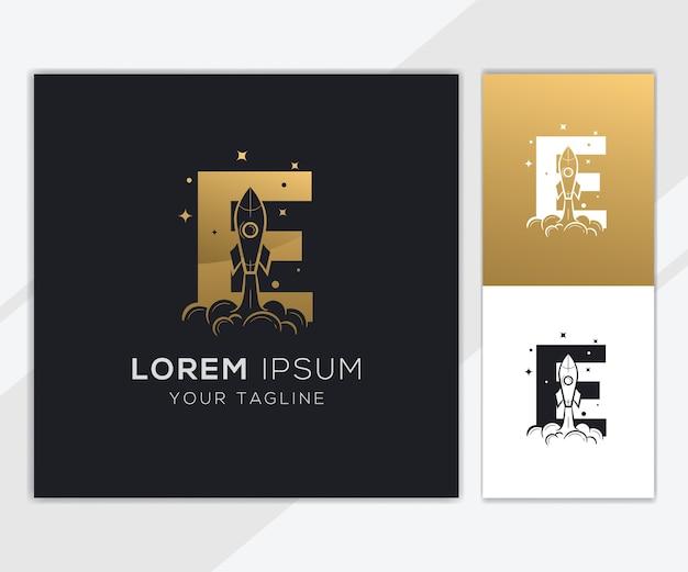 Litera e z luksusowym szablonem logo streszczenie rakiety
