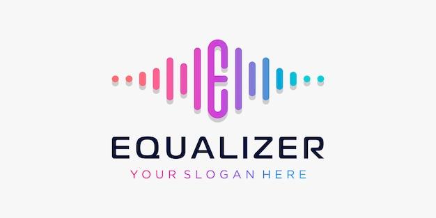 Litera e z pulsem. wyrównuje element. logo szablon muzyka elektroniczna, korektor, sklep, muzyka dj, klub nocny, dyskoteka. koncepcja logo fali dźwiękowej, technologia multimedialna, abstrakcyjny kształt.