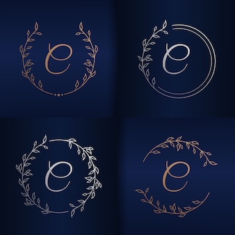 Litera e z szablonem logo kwiatowy ramki
