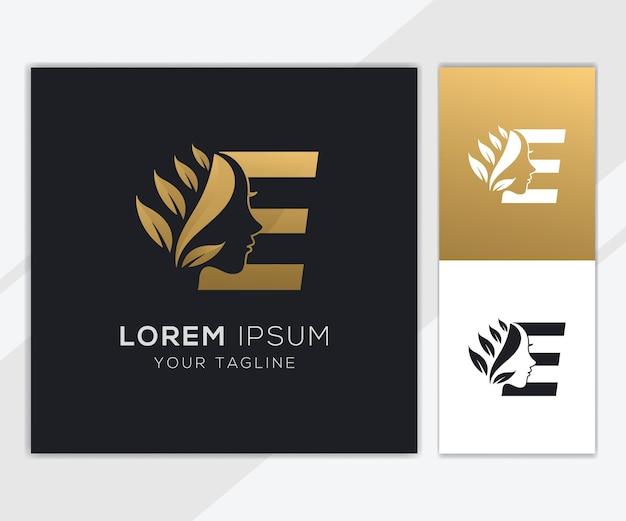 Litera e z szablonem logo luksusowego naturalnego kobiecego piękna