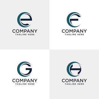 Litera efg i h nowoczesne logo wewnątrz okręgu
