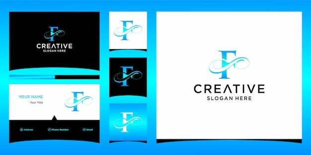 Litera f elegancki projekt logo z projektem wizytówki