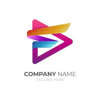 Litera f i media odtwarzają nowoczesny szablon logo
