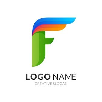 Litera f i projekt logo skrzydła, nowoczesny styl logo w żywych kolorach gradientu