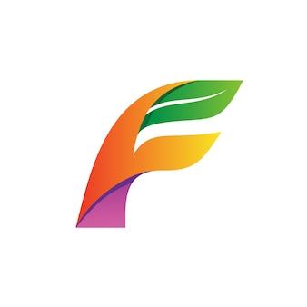 Litera f i wektor logo liści