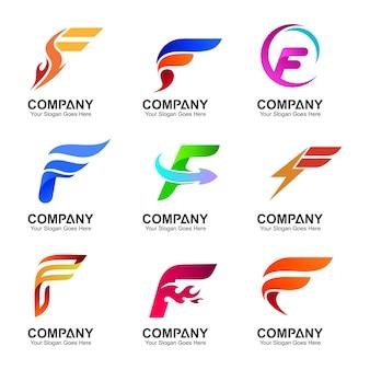 Litera f kolekcja wzorów logo