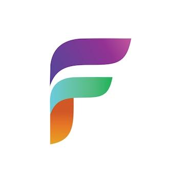 Litera f szablon początkowy ikona logo