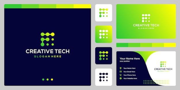 Litera f w stylu tech i kolor gradientu. wizytówka.