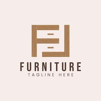 Litera f z inspiracją do projektowania logo koncepcji mebli drewnianych