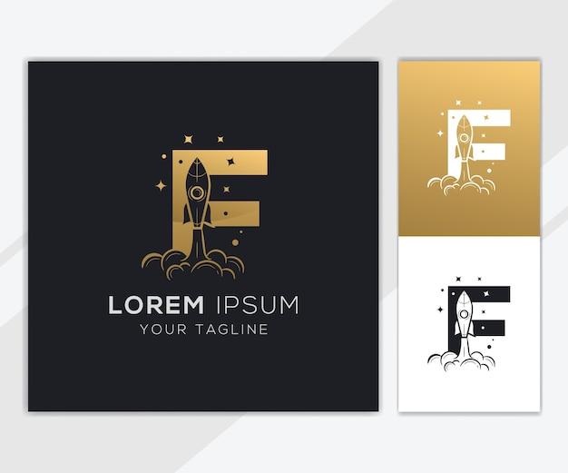 Litera f z luksusowym szablonem logo streszczenie rakiety