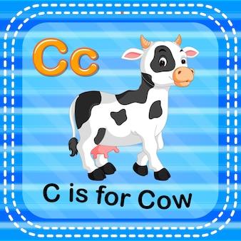 Litera flashcard c jest dla krowy