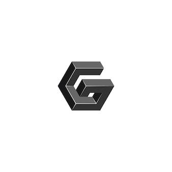 Litera g geometria sześciokąt logo