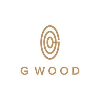 Litera g i drewniane koło proste, eleganckie, kreatywne geometryczne nowoczesne logo