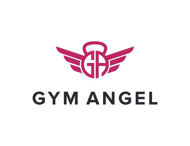 Litera g i litera a z siłownią fitness i skrzydłami prosty elegancki kreatywny geometryczny nowoczesny projekt logo