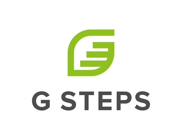 Litera g i schody krok prosty elegancki kreatywny geometryczny nowoczesny projekt logo