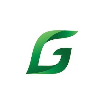 Litera g liść logo wektor