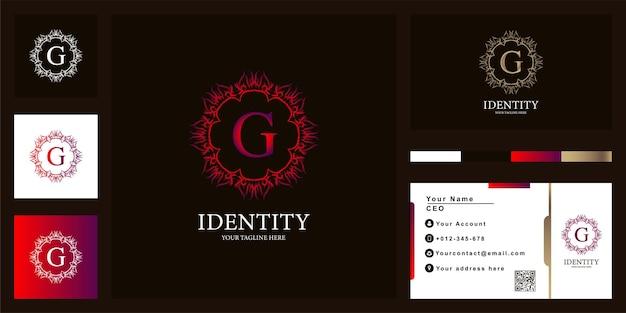 Litera g luksusowy ornament kwiat rama logo szablon projektu z wizytówką.