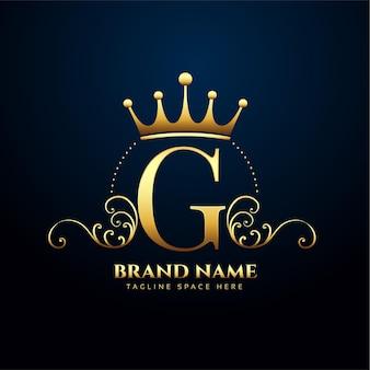 Litera g premium kwiatowy i logo korony