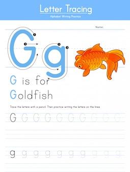 Litera g śledzenie alfabetu zwierząt g dla złotych rybek