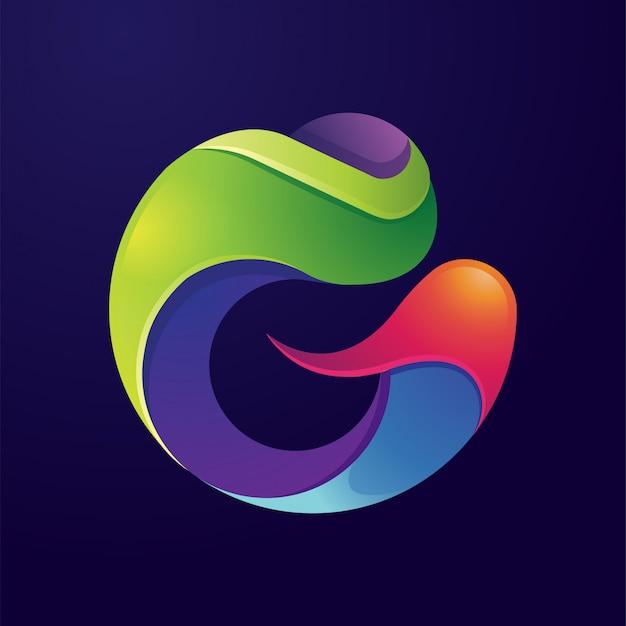 Litera g streszczenie kolorowe logo