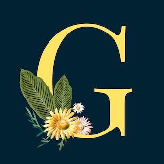 Litera g z kwiatami