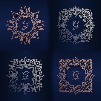 Litera g z szablonem logo kwiatowy ramki