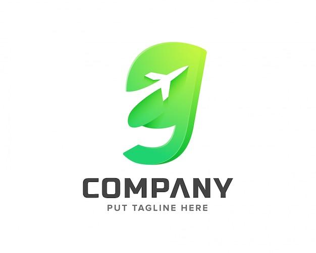Litera g z szablonem logo w kształcie samolotu