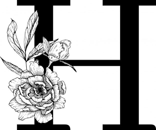 Litera h. alfabet kwiatowy