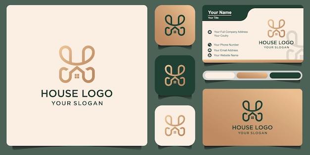 Litera h, dom nowoczesny i prosty projekt logo z wizytówką
