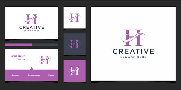 Litera h elegancki projekt logo z projektem wizytówki