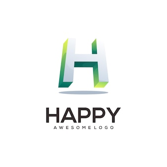 Litera h kolorowe logo gradient ilustracja