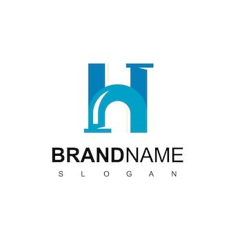 Litera h, logo rury dla symbolu firmy hydraulicznej