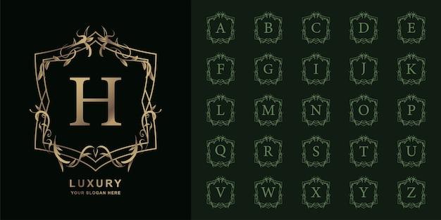 Litera h lub początkowy alfabet kolekcji z luksusowym ornamentem kwiatowy rama złoty szablon logo.