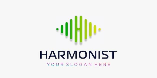 Litera h z elementem odtwarzacza muzyki pulse szablon logo elektroniczny korektor muzyki dj muzyka noc
