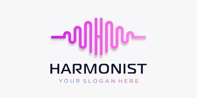 Litera h z pulsem. element fali. szablon logo muzyka elektroniczna, korektor graficzny, sklep, muzyka dj, klub nocny, dyskoteka. koncepcja logo fali dźwiękowej, o tematyce technologii multimedialnej, abstrakcyjny kształt.