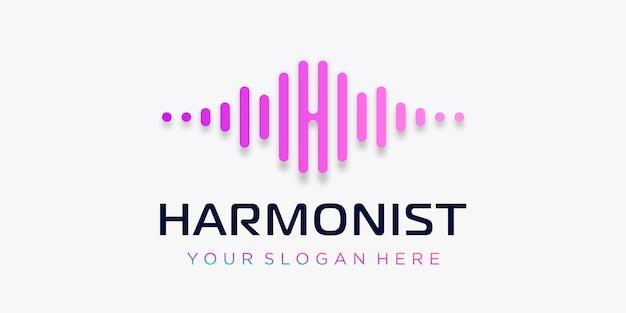 Litera h z pulsem. element muzyczny harmony. logo szablon muzyka elektroniczna, korektor, sklep, muzyka dj, klub nocny, dyskoteka. koncepcja logo fali dźwiękowej, technologia multimedialna, abstrakcyjny kształt.