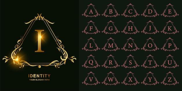 Litera i lub kolekcja początkowy alfabet z luksusowym ornamentem kwiatowy rama złoty szablon logo.