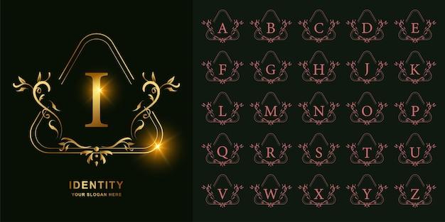 Litera i lub początkowy alfabet kolekcji z luksusowym ornamentem kwiatowy rama złoty szablon logo.