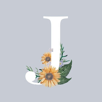 Litera j z kwiatami