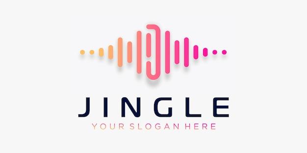 Litera j z szablonem logo elementu fali dźwiękowej pulsu muzyka elektroniczna korektor sklep muzyka dj