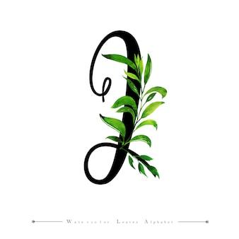 Litera j z tłem liści akwarela