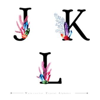 Litera jk i l z akwarelą crystal