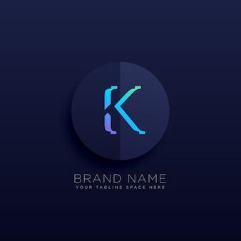 Litera k ciemny logotyp koncepcji stylu